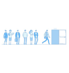 queue at door adult people customers group in vector image