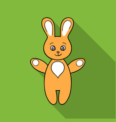 Rabbit toy icon in flate style isolated on white vector