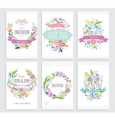 Romantic Floral hand drawn card set vector image