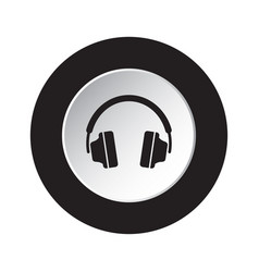round black white button icon with headphones vector image
