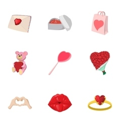 Saint Valentines day icons set cartoon style vector image