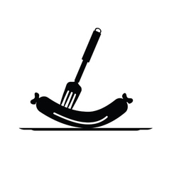 sausage and fork black vector image