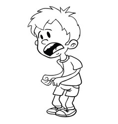 scared little boy black vector image