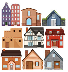 set different culture houses vector image