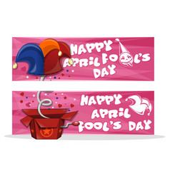 set horizontal banners for april fools day vector image