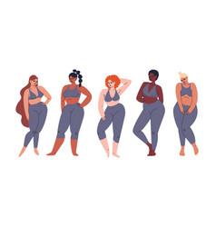 Set multicultural girls different skin vector