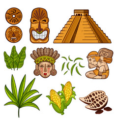 set of cultural mayan objects vector image