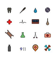 set of flat medical icons with black stroke vector image