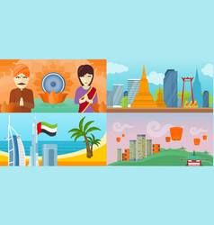 set touristic concept in flat design vector image