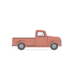 silhouette old farmer retro pickup truck isolated vector image