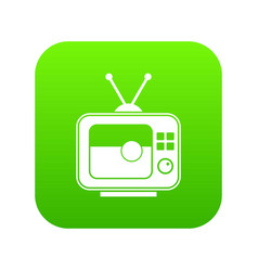 soccer match on tv icon digital green vector image