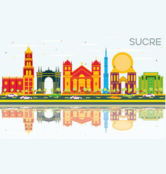 Sucre skyline with color buildings blue sky and vector