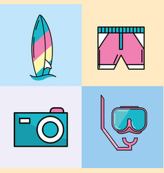 Surfboard with swimsuit and camera with mask vector