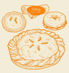 sweet pastries cake tart and pie with fruit vector image