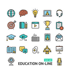 Symbol of education online color thin line icon vector