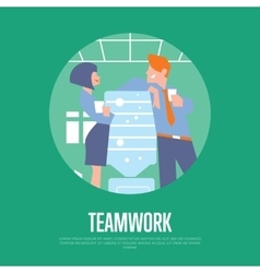 Teamwork banner with business people vector