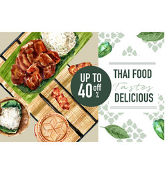 Thai food social media design with grilled pork vector