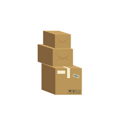 three brown cardboard boxes stacked on each other vector image