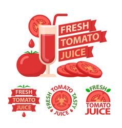 tomato juice badge emblems vector image