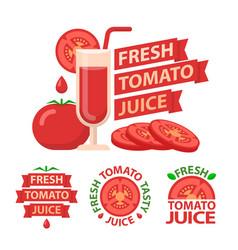 Tomato juice badge emblems vector