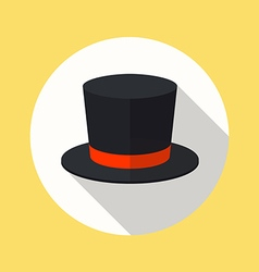 Top hat flat icon vector