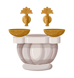 turkish bath hamam with copper bowls isolated on vector image