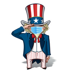 Uncle sam saluting - surgical mask vector