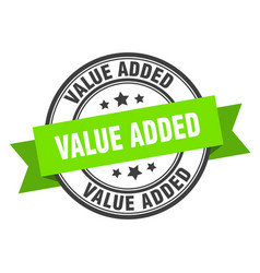 Value added label value added green band sign vector