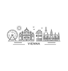 Vienna style city outline skyline with typographic vector