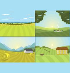 village landscapes farm field vector image