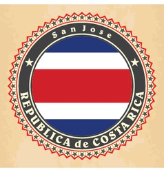 Vintage label cards of Costa Rica flag vector image