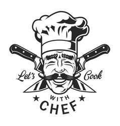 Vintage restaurant chef logotype vector