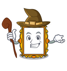 Witch picture frame mascot cartoon vector