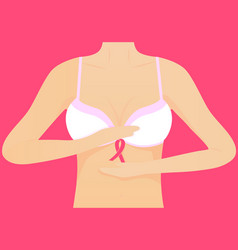 Woman in white bra and pink ribbon national vector
