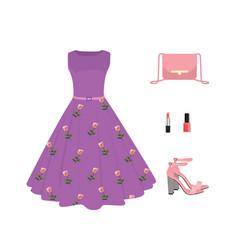 woman summer outfit set dress handbag and shoes vector image