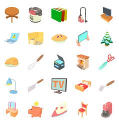 amenity icons set cartoon style vector image