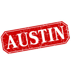 austin red square grunge retro style sign vector image vector image