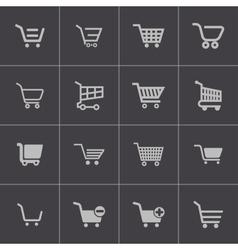 black shopping cart icons set vector image