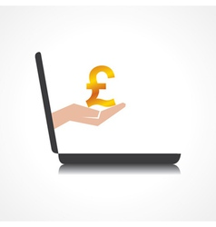 hand holding pound symbol comes from laptop screen vector image vector image
