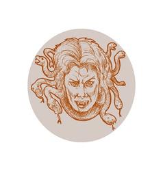 Medusa greek Methology snakes as hair vector image vector image