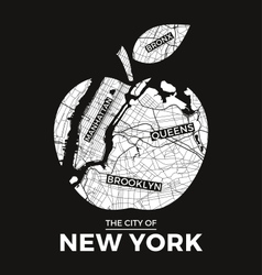 new york t shirt design big apple with city map vector image vector image