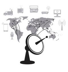satellite dish data transmitter global service vector image vector image
