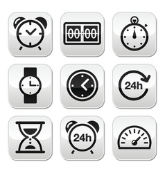 Time clock buttons set vector image