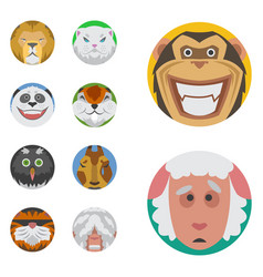 cute animals emotions icons isolated fun set face vector image vector image