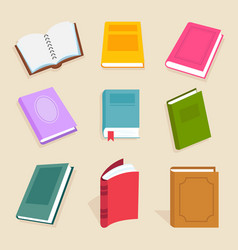 flat books and reading documents open vector image