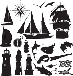 marine silhouettes vector image vector image