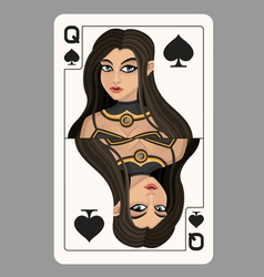 Queen of spades playing card vector image vector image