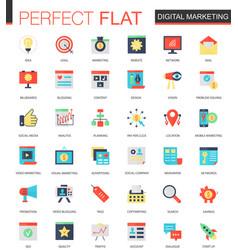 set of flat digital marketing icons vector image vector image