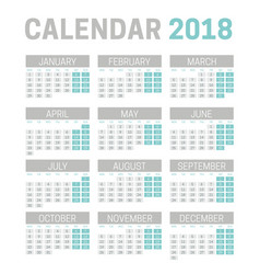 simple 2018 calendar template on white background vector image