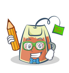 student tea bag character cartoon with pencil vector image vector image